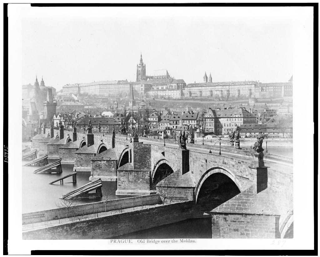 Charles Bridge, Prague in 1860.