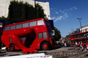 A real muscle car: Černý transformed a double-decker bus into a robotic sculpture that was assembled in front of the Czech Olympic headquarters in Islington, north London.