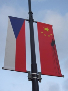 Chinese flags vandalized