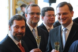 Sour grapes- John, Kalousek, Vondra and Nečas, shown last July toasting the newly formed coalition, which is now in turmoil.