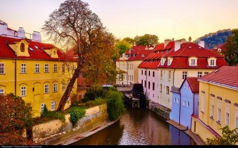 Prague, view of Kampa island from the Charles bridge.