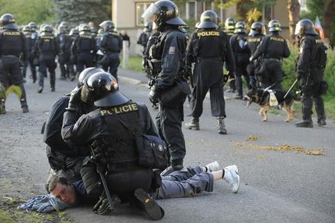 riot police prague