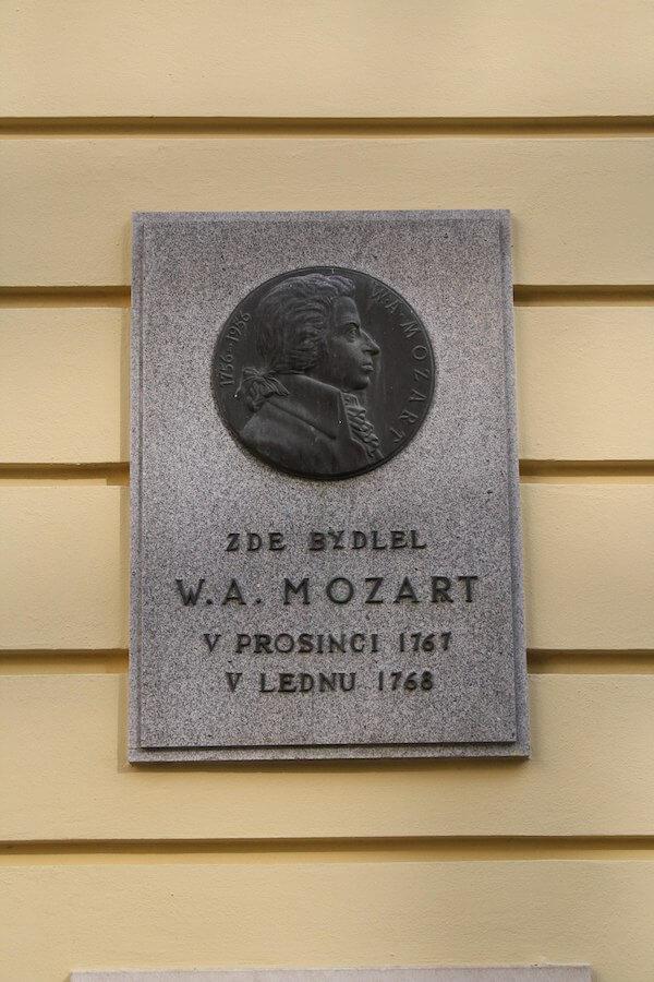 Mozart Plaque Schrattenbach-Palais Brno