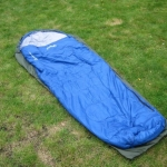 A sleeping bag fills the bag, so there is little extra room for a rucksack.