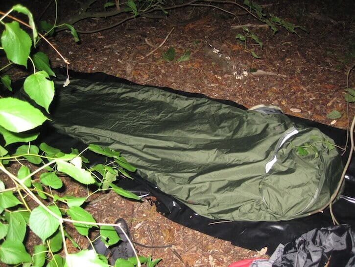 The Highlander Hawk bivy bag being used on a wild camp.