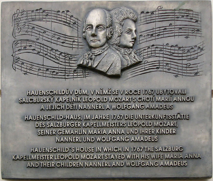 Leopold Mozart and Wolgang Amadeus Mozart plaque