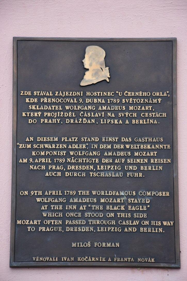 Mozart plaque in Caslav