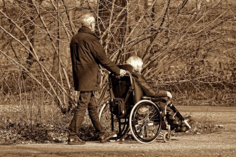 old couple wheel chair
