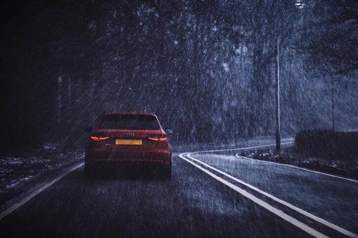 car under rain