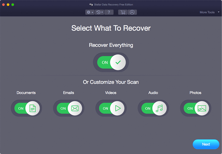 Stellar Data Recovery Free Edition for Mac interface